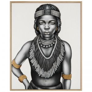 Tribal Girl with Lip Ring | P3025-Gold Tone | Framed Canvas Print | Colour Clash Studio