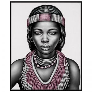 Tribal Girl with Lip Ring | P3027-Pink | Framed Canvas Print | Colour Clash Studio