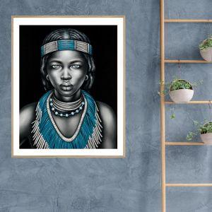 Tribal Girl with Lip Ring | P3028-Aqua | Framed Print | Colour Clash Studio