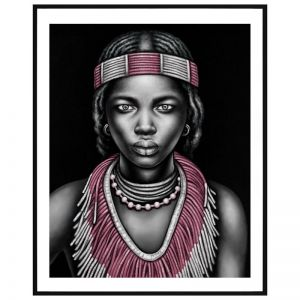 Tribal Girl with Lip Ring | P3028-Pink | Framed Print | Colour Clash Studio