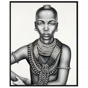 Tribal Girl with Mohawk | P3032-Mono | Framed Canvas Print | Colour Clash Studio