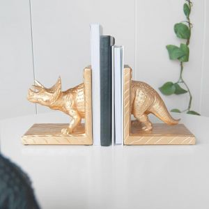 Triceratops Bookends | Gold