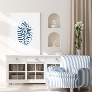 Tropical Fine Living in Navy Blue Fine Art Print   by Pick a Pear   Framed
