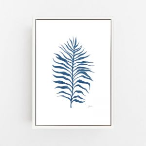 Tropical Fine Living in Navy Blue Wall Art Print   by Pick a Pear   Canvas