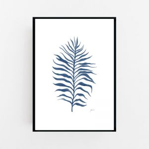 Tropical Fine Living Wall Art in Navy Blue by Pick a Pear | Framed Wall Art