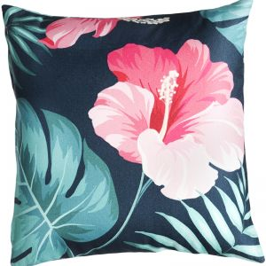 Tropical Hibiscus Floral Outdoor Cushion | Insert Included | Multicolour