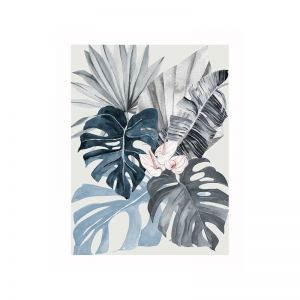 Tropical Leaves Blue I Poster