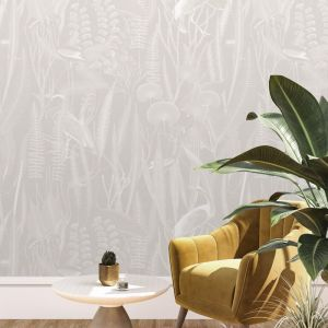 Tropical Reeds | Warm Grey Inverted | Wallpaper