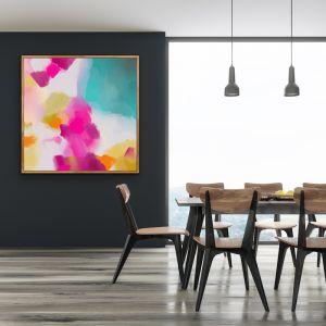 Tropical Shore | Abstract Pink Blue Coastal Canvas Print