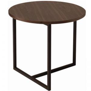 Turner Round Side Table | Black Metal + Walnut | Modern Furniture