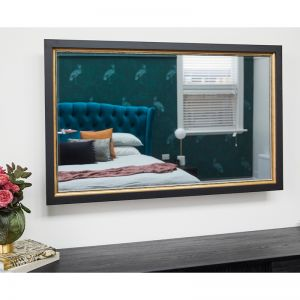 TV-Mirror with Black Frame and Gold Decorative Edging | Harry & Tash