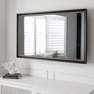 TV-Mirror with Traditional Black Distressed Frame with Patterned Gold Inner Detail | Luke & Jasmin