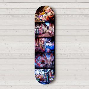Twice Shy on Hosier   Skateboard Deck Wall Art   Street Art Photography   Blue Herring