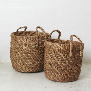 Twisted Waterhyacinth Basket with Twill Pattern l Pre Order