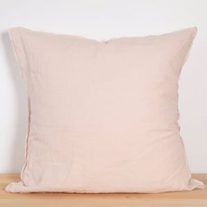 Two French Linen Raw Edge European Pillowslips by Bedtonic | Blush