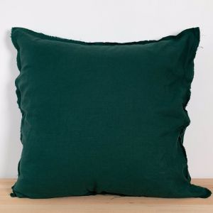Two French Linen Raw Edge European Pillowslips by Bedtonic | Emerald Green