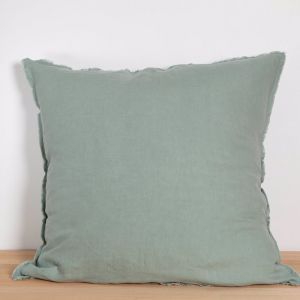 Two French Linen Raw Edge European Pillowslips by Bedtonic | Sage
