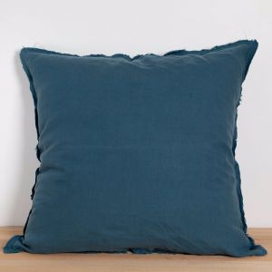 Two French Linen Raw Edge European Pillowslips by Bedtonic | Venice Blue