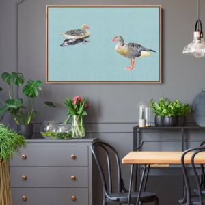 Two Geese | Watercolour Geese | Canvas Art Print