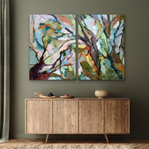 Two Piece Hand Embellished Eucalypt Canvas Artwork