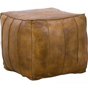 Valdas Leather Ottoman | Dark Tan | Schots
