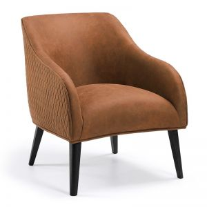 Valentine Nubuck Quilted Armchair | Rust