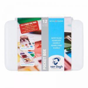Van Gogh Pocketbox Watercolour Set | 1/2 Pan 12pc | 3 Free Colours