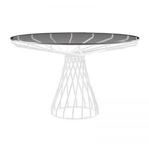 Velletri | White 120cm Smoke Glass | Indoor Outdoor Dining Table