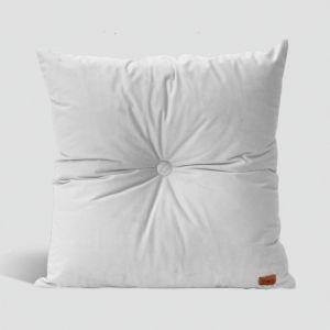 Velvet Cushion with Centre Button Detail | 41 x 41cm | Insert Included | Milk
