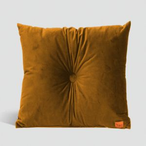 Velvet Cushion with Centre Button Detail | 41 x 41cm | Insert Included | Mustard