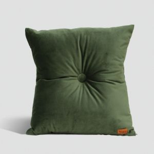 Velvet Cushion with Centre Button Detail | 41 x 41cm | Insert Included | Olive Green