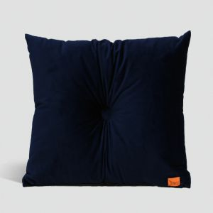 Velvet Cushion with Centre Button Detail | 51 x 51cms | Insert Included | Black