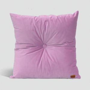 Velvet Cushion with Centre Button Detail | 51 x 51cms | Insert Included | Blush Pink