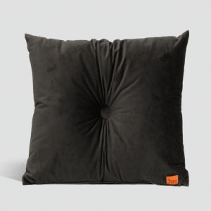 Velvet Cushion with Centre Button Detail | 51 x 51cms | Insert Included | Charcoal