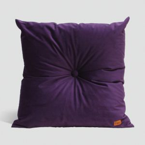 Velvet Cushion with Centre Button Detail | 51 x 51cms | Insert Included | Deep Purple