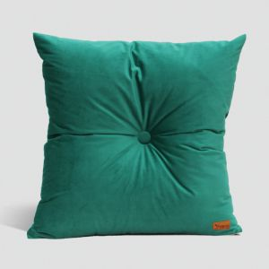 Velvet Cushion with Centre Button Detail | 51 x 51cms | Insert Included | Emerald