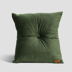 Velvet Cushion with Centre Button Detail | 51 x 51cms | Insert Included | Olive Green
