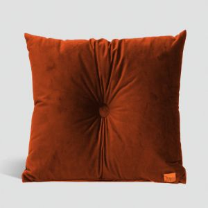 Velvet Cushion with Centre Button Detail | 51 x 51cms | Insert Included | Rust