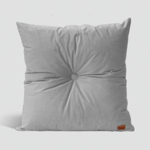 Velvet Cushion with Centre Button Detail | 51 x 51cms | Insert Included | Silver