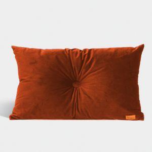 Velvet Cushion with Centre Button Detail | Lumbar | Insert Included | Burnt Orange