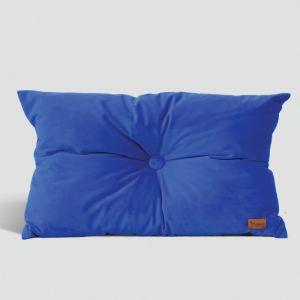 Velvet Cushion with Centre Button Detail | Lumbar | Insert Included | Cobalt Blue