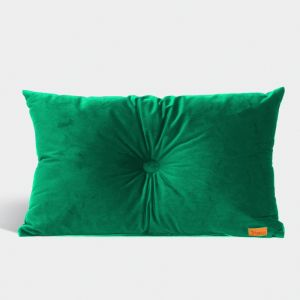 Velvet Cushion with Centre Button Detail | Lumbar | Insert Included | Emerald