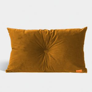 Velvet Cushion with Centre Button Detail | Lumbar | Insert Included | Mustard