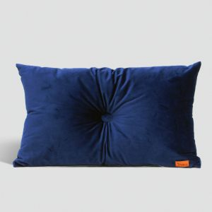 Velvet Cushion with Centre Button Detail   Lumbar   Insert Included   Royal Blue