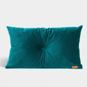 Velvet Cushion with Centre Button Detail | Lumbar | Insert Included | Teal