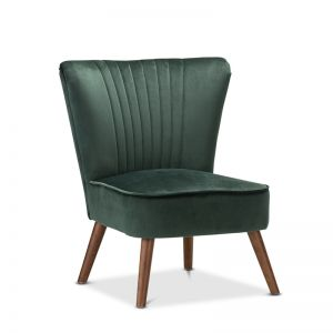 Velvet Emerald Green Slipper Accent Chair