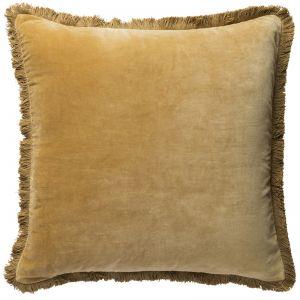 Velvet Fringe Cushion | Ochre