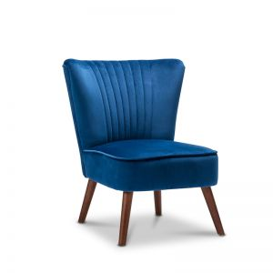 Velvet Midnight Blue Slipper Accent Chair