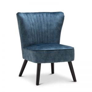 Velvet Petrol Blue Slipper Accent Chair