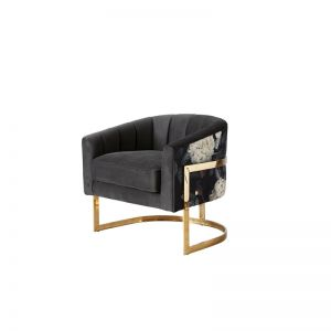 Vera Occasional Chair   Velvet   Charcoal/Patterned